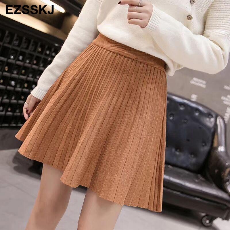 2019 Autumn Winter Sweet Short Sweater Sun Skirt Women A Line Skirt Umbrella Skirt Female High Waist  Knit Bottom Mini Skirt