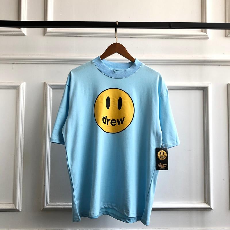 2020ss Drew House Smile Face Tees Men Women Drew Classic Design T Shirt Men Justin Bieber 100% Cotton Oversized T-Shirt Men