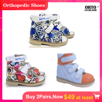 Children Orthopedic Shoes Combination Closed and Opened-toe with Fashion Printed for Kids Arch Support Breathable Soft Sandals