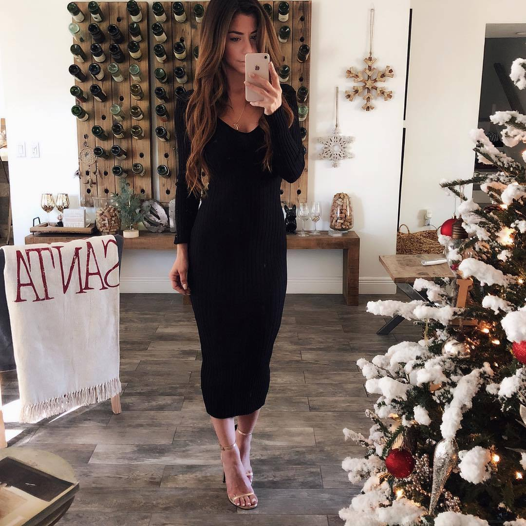 <font><b>Sexy</b></font> Low Chest <font><b>Deep</b></font> <font><b>V</b></font> Neck Sweater Maxi <font><b>Dress</b></font> Winter Female Casual Slim Wrap Bodycon <font><b>Dress</b></font> Autumn Pencil Vestido White Black Red image