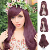 Lange Wellenförmige Synthetische Erdbeere Blonde Ashy Kastanien Rötlich Braun Auburn Haar Perücken mit Seitlichem Pony für Frauen Lolita Cosplay