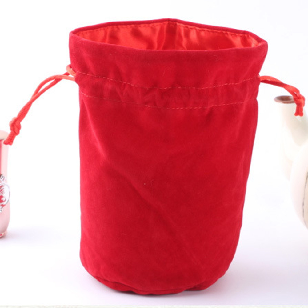 2 Sizes Drawstring Pouch Jewelry Packing Bags Velvet Bag Three Colors Multifunction Drawstring Bag Black/Red