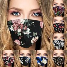 Kobiety kwiat drukuj maska węgiel aktywny PM2 5 maska na zewnątrz usta zmywalny wielokrotnego użytku osłona na usta modne tkaniny maski tanie tanio Poliester NONE Chin kontynentalnych WOMEN