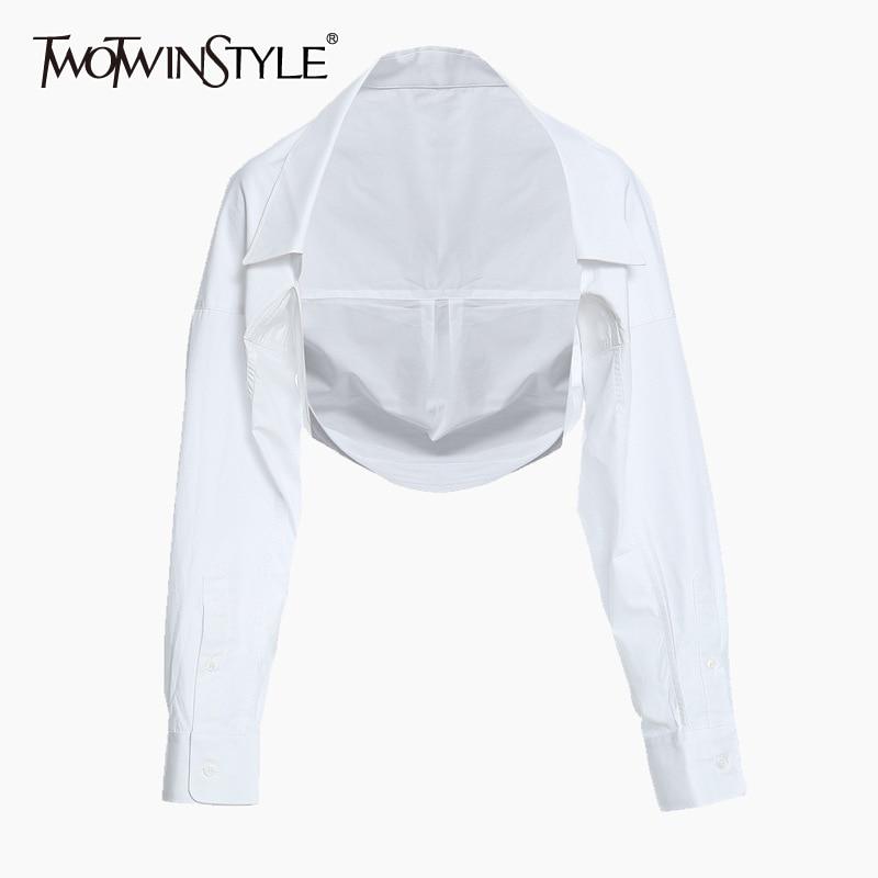 TWOTWINSTYLE Casual White Women Shirt Lapel Long Sleeve Minimalist Irregular Short Blouse Female 2020 Summer Fashion New Style