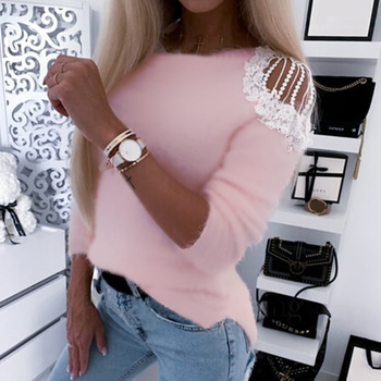 Off-the-Shoulder Lace Sweaters Women Plush Long Sleeves Tops Round Neck Jumpers Pink Gray D30 цена 2017