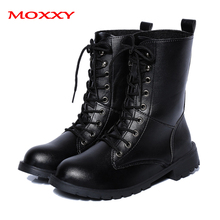 2019 New Gothic Punk Ankle Boots Women Shoes Winter Platform Martin Boots Black Leather Lace Up Combat Boots Women Plus Size 42