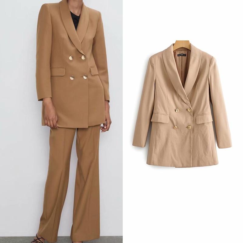 Women's Jacket Chic Solid Blazer Pockets Double Button Long Sleeve Office Wear Lady Female Casual Elegant Outerwear Suit Coat