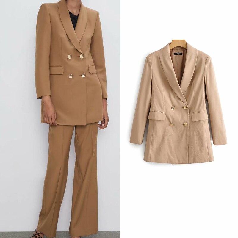 women jacket chic solid blazer pockets double button long sleeve office wear lady coat female casual elegant outerwear tops
