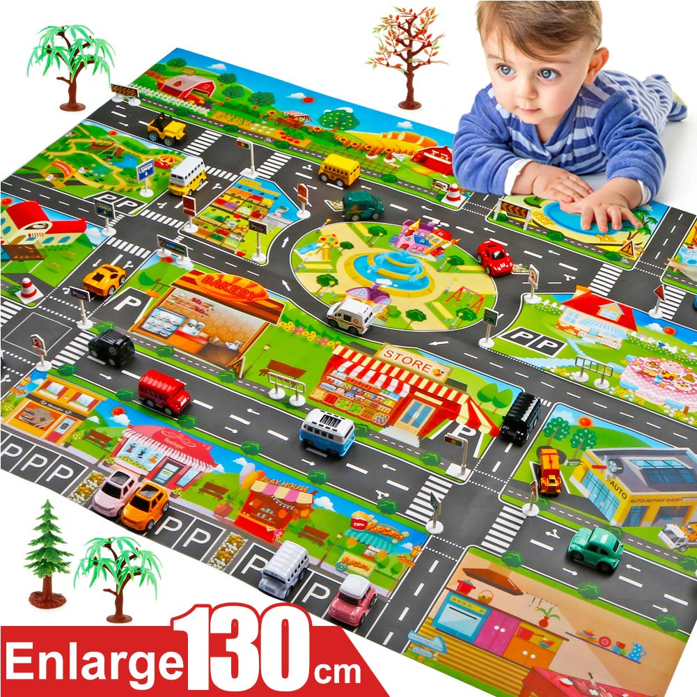 Hot Selling 130*100cm Children Play Mats House Traffic Road Signs Car Model Parking City Scene Map