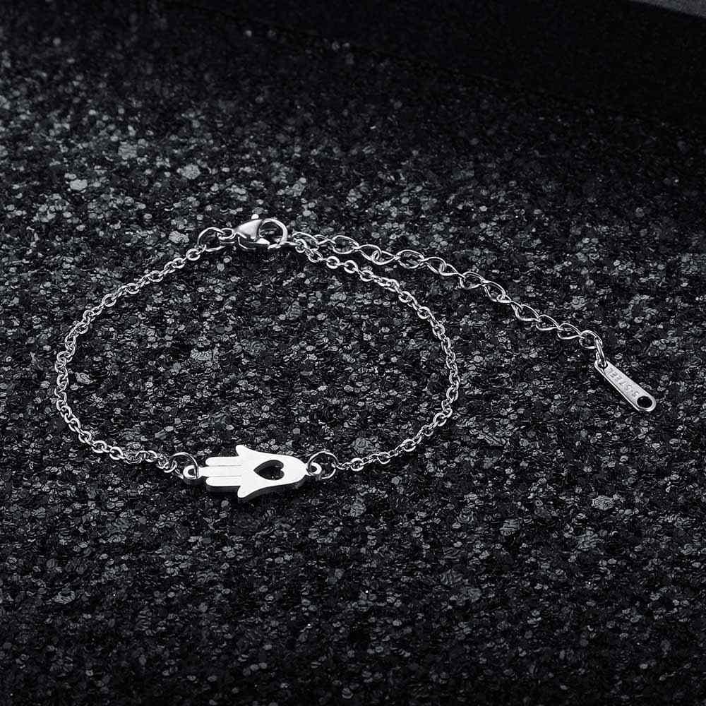 Jakość AAAAA 100% ze stali nierdzewnej Hamsa ręcznie urok bransoletka dla kobiet kobieta fantastyczny bransoletka wysokiej polski Charms bransoletki