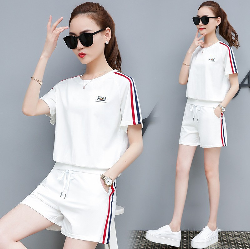Sports WOMEN'S Suit Summer 2019 New Style WOMEN'S Dress Loose Short Sleeve Shorts Pure Cotton Students Running 2-piece Casual Su
