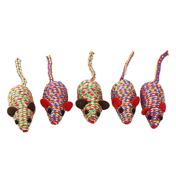 5PcsCute Pet Cat Kitten Cotton Rope False Mouse Rat Doll Squeaky Interactive Soft Chew Toy