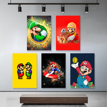 Printed Painting Art-Poster Canvas Living-Room Mario Cartoon Beard-Pictures Wall No-Framework