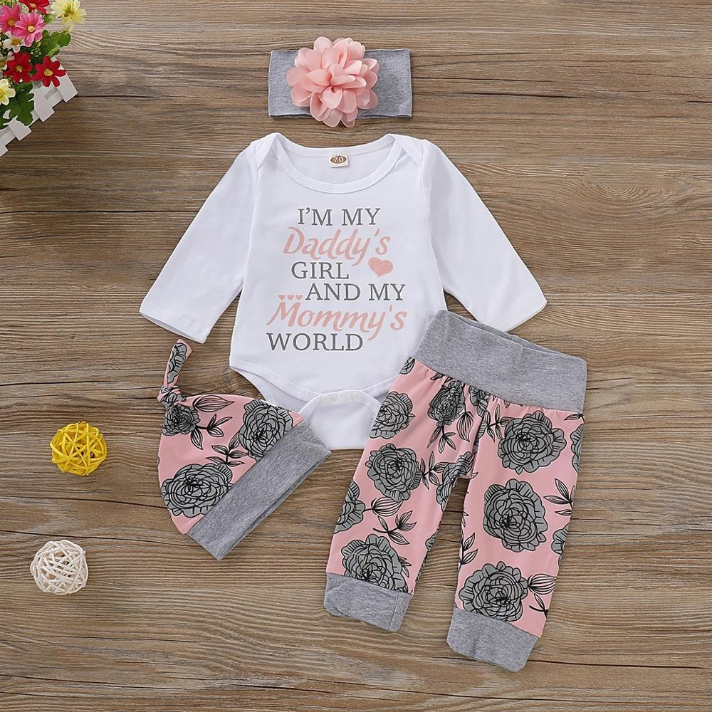 PatPat 2020 New 4-piece Baby Girl Floral Print Long-sleeve Bodysuit And Pants With Hat And Headband Set