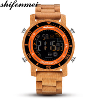 Shifenmei leisure wooden electronic watch Men's sport business electronic watch birthday gift holiday gift Mirar Reloj masculino