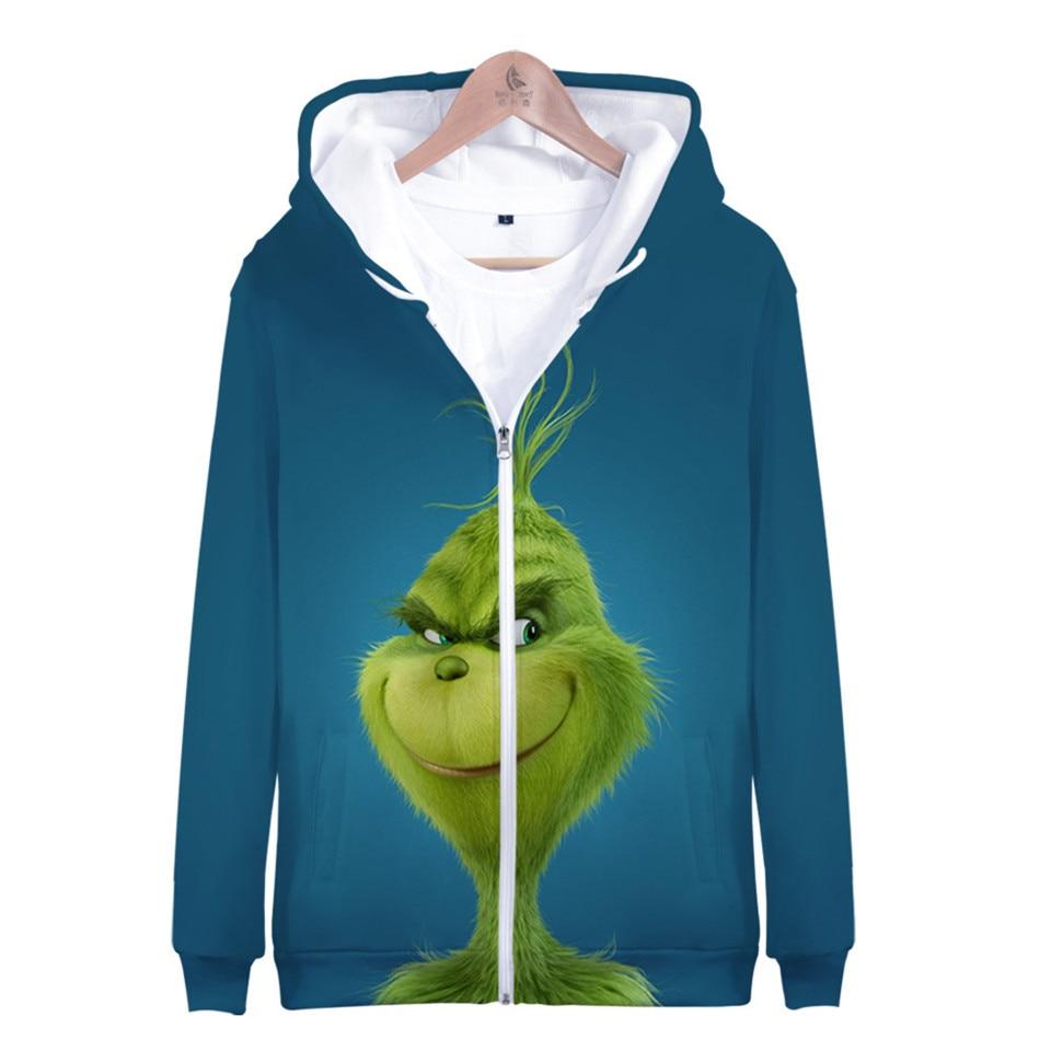 Hot Sale Movie The Grinch 3D Printed Hoodies Fashion Zipper Hoodie Sweatshirt Harajuku Streetwear Jacket Coat Clothes 2019