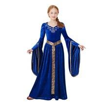 Pettigirl kızlar Maxi elbise ortaçağ mavi prenses kostüm rönesans Royalty parti Cosplay çocuklar için G DMGD205 G011