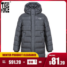 Tiger Force 2020 Men's Winter Jacket with Hooded Dark gray long Thick Business Casual