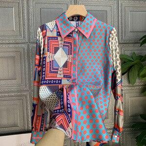 Женская элегантная рубашка в горошек, с длинным рукавом, B851