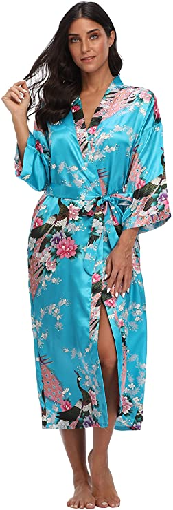 Plus Size S-6XL Long Robe Print Flower Kimono Gown Bridesmaid Wedding Robe Women