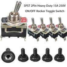 高速配送5個のx spst 2Pinヘビー15A 250 220vオン/オフロッカートグル防水ブーツ最低価格