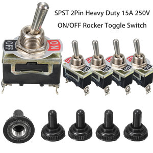 Fast Shipping 5Pcs x SPST 2Pin Heavy 15A 250V ON/OFF Rocker Toggle Switch Waterproof Boot Lowest Price