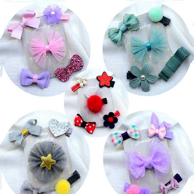 1 Set =5PCS Girls Flowers Hair Clips Cartoon Hairpins Toddlers Kids Children Animal Bow Barrettes Hair Accessories Headwear