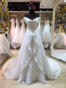 Sexy Off Shoulder open dress back Vestido De Novia Casamento Lace appliques Bridal gown Detachable Train Bespoke Wedding Dresses цена 2017