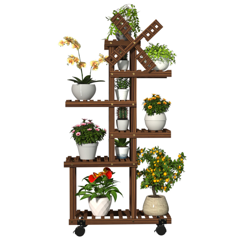 Airs Multi-storey Room Built-in Rack Balcony Household A Living Room Landing Type Meaty Solid Wood Move Flowerpot Frame