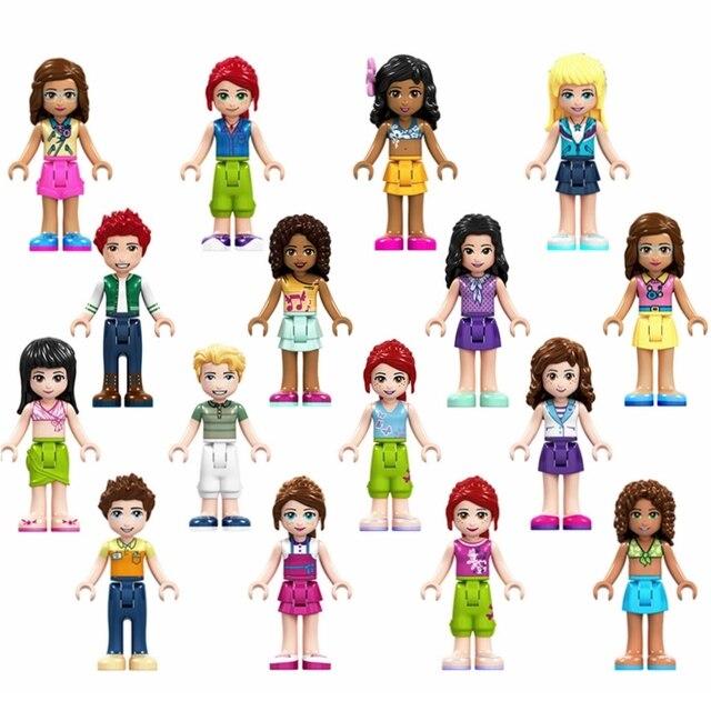 Girl Friends Figures Olivia Mia Kate Emma Andrea Stephanie James Princess Building Blocks Doll Toys For