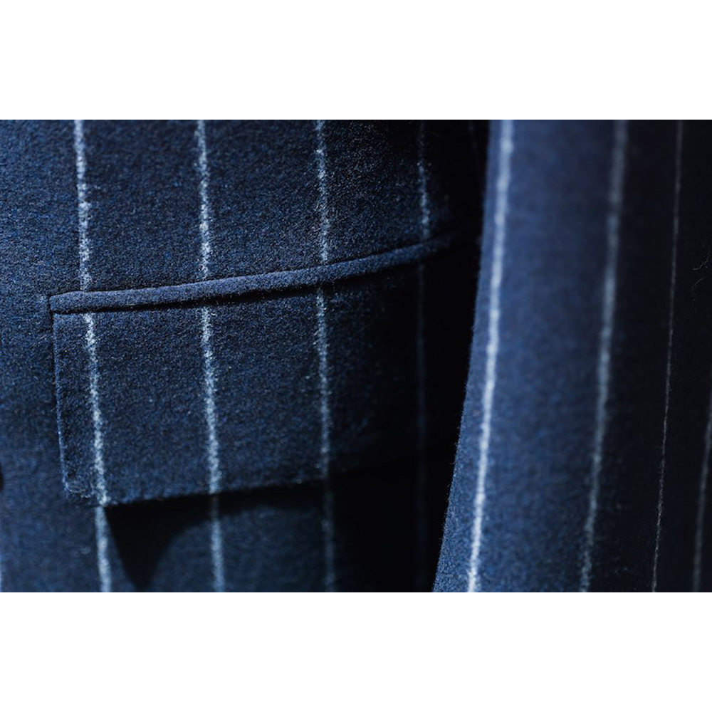 Navy Blue Chalk Stripe Flannel Business Sits For Men Custom Made Men Blue Suit Warm Fashion Style Comfortable Jacket And Pants