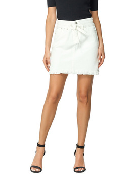 Straight Denim Jeans Above Knee Mini Empire Lace-up Pockets White Solid Street Casual Skirt 2