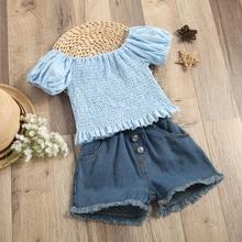 Kids Clothes Girls Sets 2pcs Lantern Sleeve Ruffle Shirts Tops + Pocket Denim Shorts Toddler Clothing Set Summer Infant Outfits