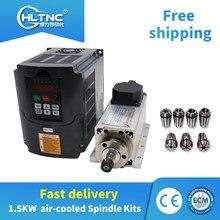 Livraison gratuite 1.5kw refroidi par air CNC moteur de broche + 110V/220V /380v HY onduleur + 1 ensemble ER11 pince pour CNC