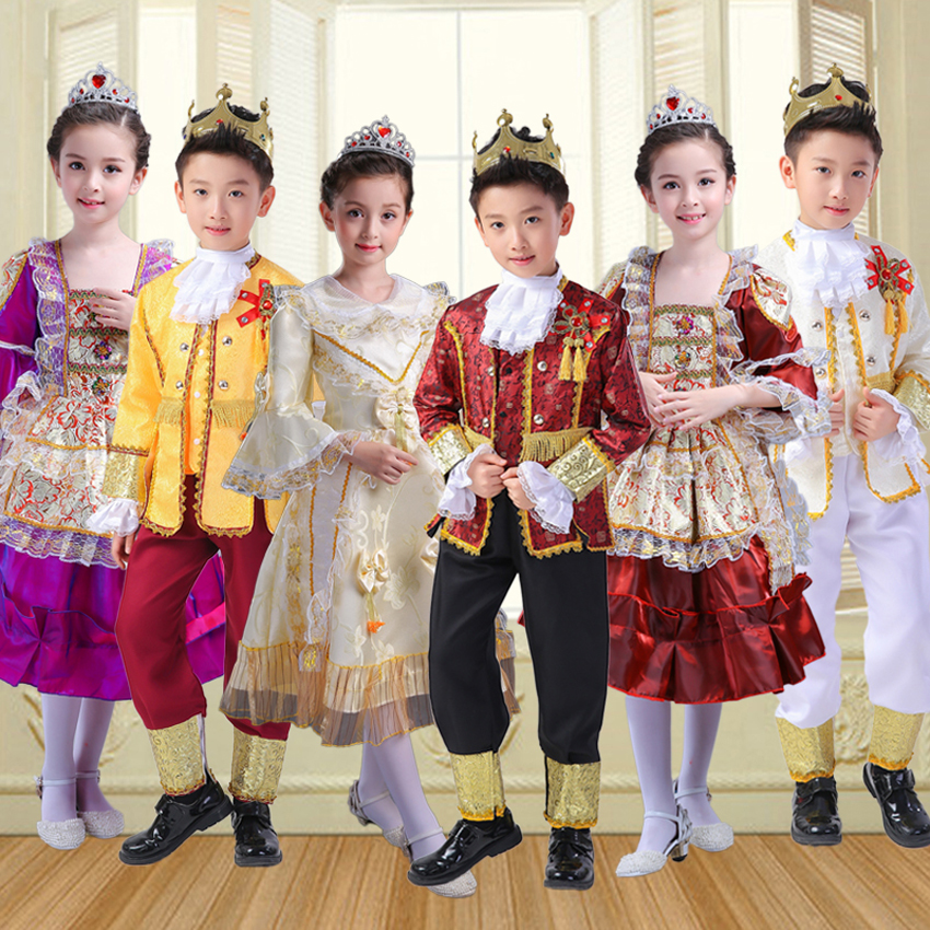 Cosplay Costumes European Royal Court King Queen Prince Princess Medieval Clothing For Kids Lolita Dress Drama Play Renaissance