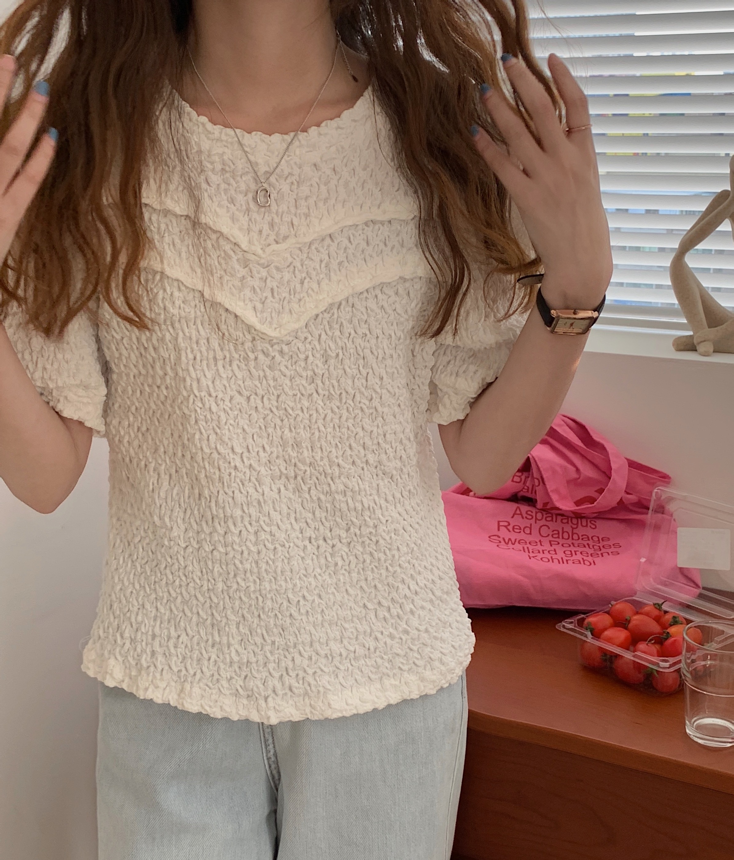 H294dfd596ee3487ea83e4dced08d1bc4L - Summer O-Neck Short Sleeves Pleated Blouse