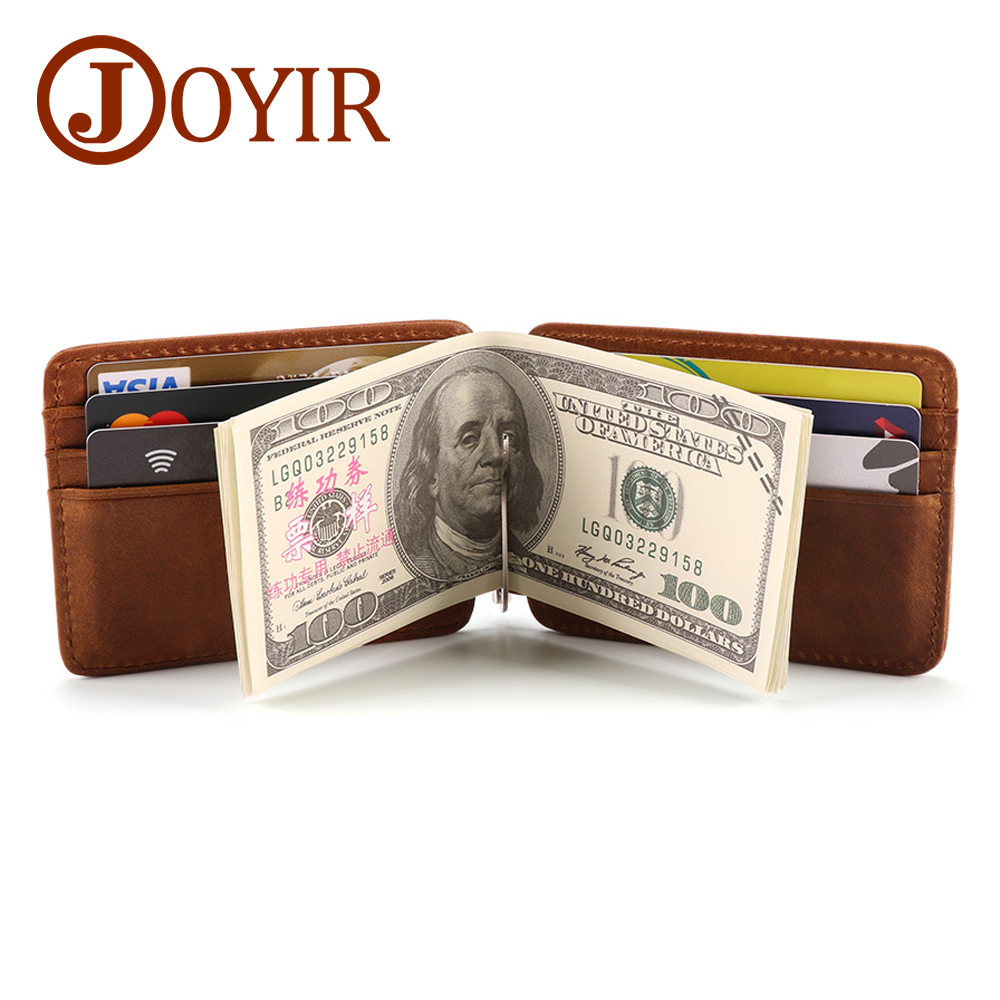 JOYIR Brand Men Wallet Money Clip Genuine Leather Male Purse Billfold Male Clamp For Money Business Card Cash Holder Quality