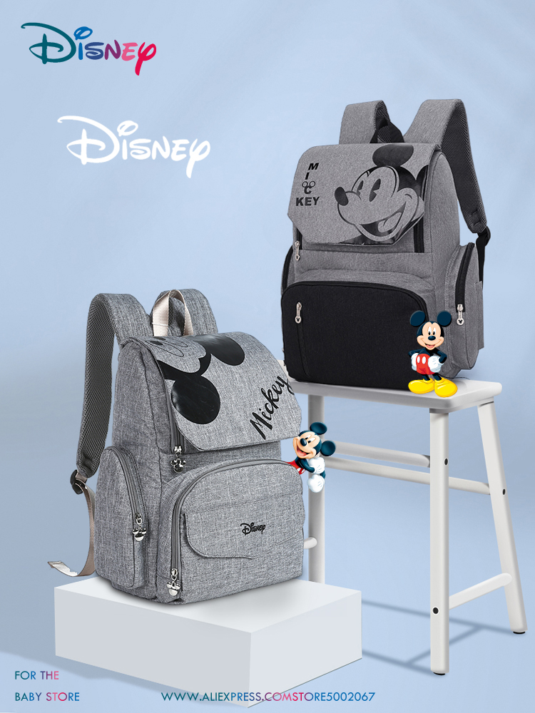 Disney Free Hook Baby Diaper Bag Backpack Maternity Bag For Stroller Nappy Bag Large Capacity Mummy Bags For Travel Gray Series