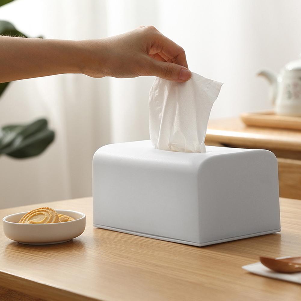 1pc Wood Cover Plastic Tissue Box Paper Holder Dispenser Organizer For Home Car