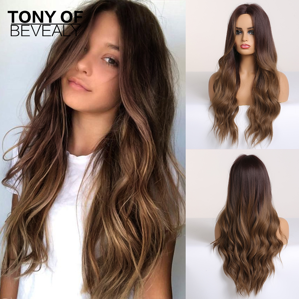 Long Water Wavy Synthetic Wigs Ombre Brown Middle Part Natural Hair Wigs For Women Cosplay Wigs Heat Resistant Fiber(China)