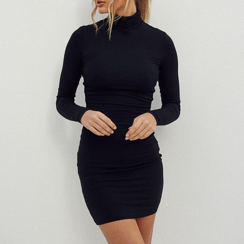 SILVERCELL Autumn Dress Women Turtleneck Fashion Casual Long Sleeve Solid Color Dress Tight Sexy Mini Dress in Dresses from Women 39 s Clothing