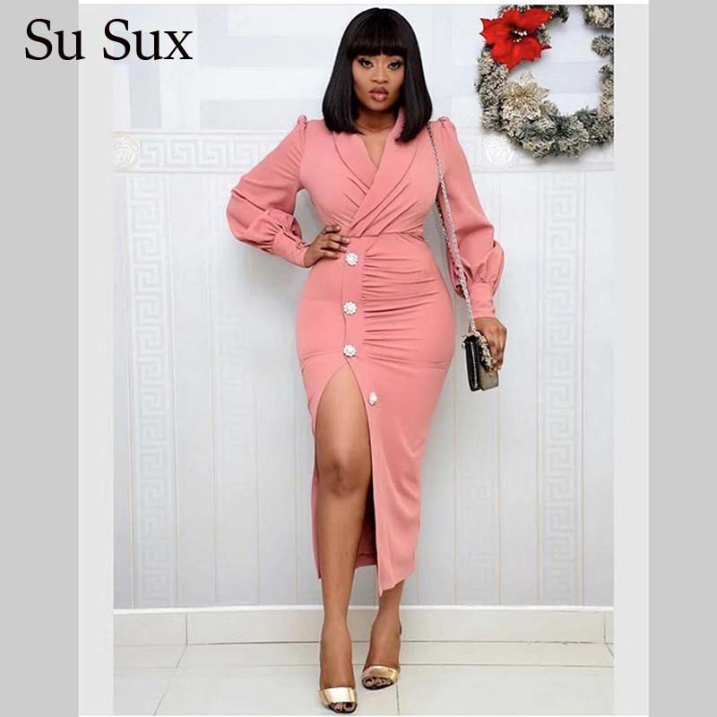 Elegant Office Lady Dress African Dresses For Women Solid Pink Long Sleeve Turn-0down Collar Button Long Dress 2020 Vestidos
