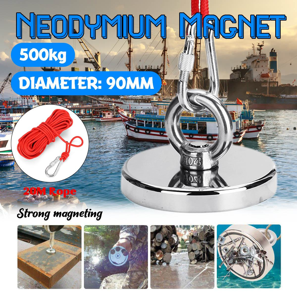 400kg Super Strong Magnet Pot Fishing Magnets Salvage Fishing Hook Magnets  Strongest Permanent Powerful Magnetic