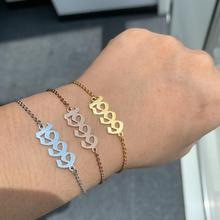Personalized Number Bracelet Year 1995 1992 1990 Customized Rings Stainless Steel Braceletes Gold Jewelry