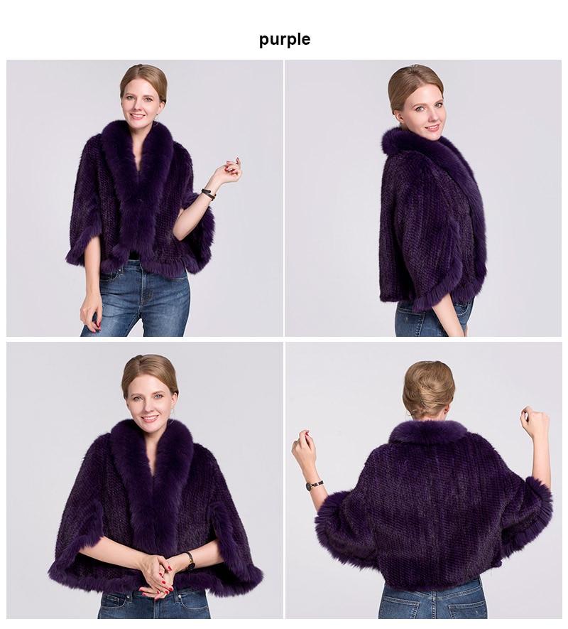 knit mink fur poncho fox collar (purple)