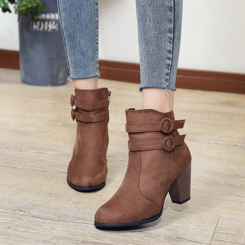LOOZYKIT Women Boots Autumn Winter Boots Classic Zipper Snow Ankle Boots Winter Flock Warm Women High Heel Shoes Plus Size 35-43