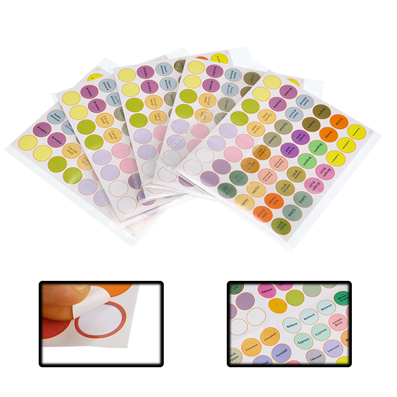 192 Pcs/Sheet Pre-printed Essential Oil Bottles Cap Lid Labels Round Circle Stickers Colorful For Essential Oil Classification