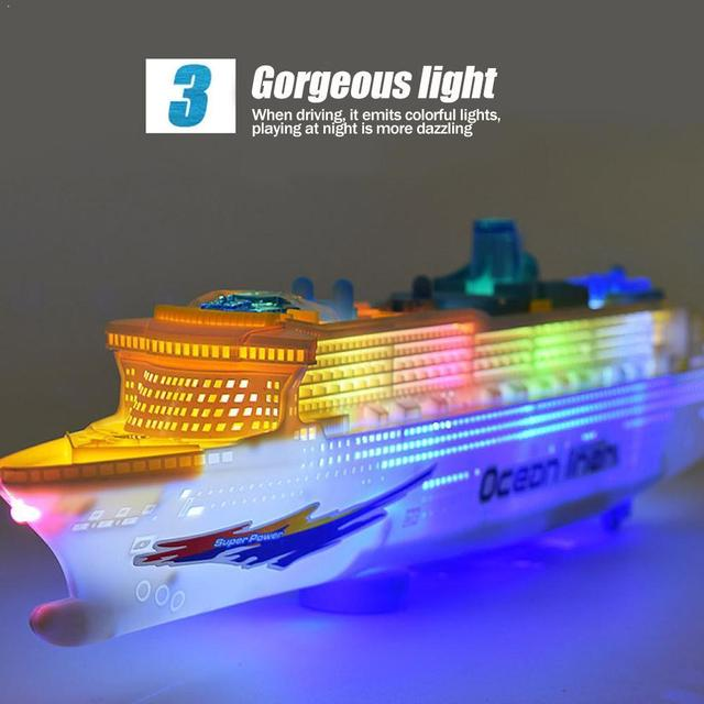 Simulation ship model children's light music cruise ship ship universal electric toy F7D0 1