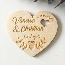 Laser personalizado de casamento, coração salvar os ímãs da data, madeira personalizada rústica salvar a data, lembranças de festa presentes