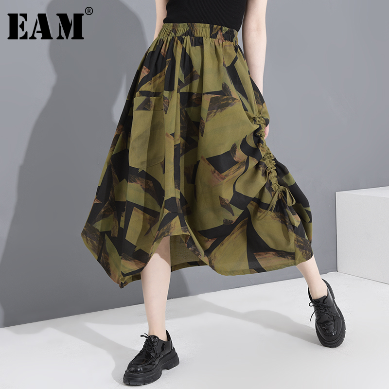 [EAM] High Elastic Waist Drawstring Pattern Printed Asymmetrical Half-body Skirt Women Fashion New Spring Autumn 2020 1T16706